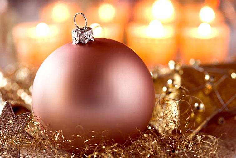 Weihnachtskugel rosa Lametta Kerzen