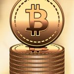 Bitcoin Goldmünzen Münzstapel