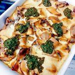 Rohkost Pilzpfanne Champignons vegane Käsesosse Korianderpesto