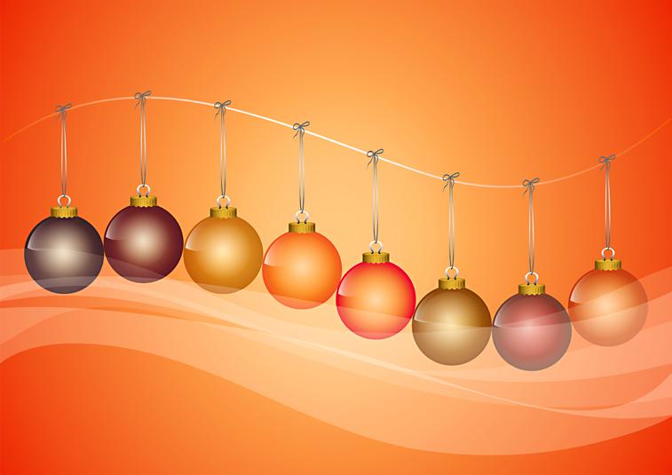 Weihnachtskugeln Christbaumkugeln Reihe Wäscheleine orange
