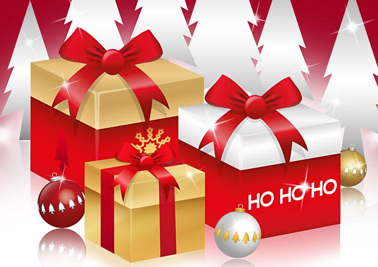 Weihnachtspäckchen Weihnachtsgeschenke Weihnachtskugeln Christbaumkugeln Schleifen