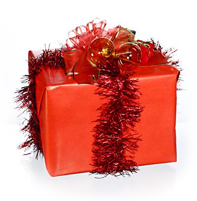Weihnachtsgeschenk rote Schleife