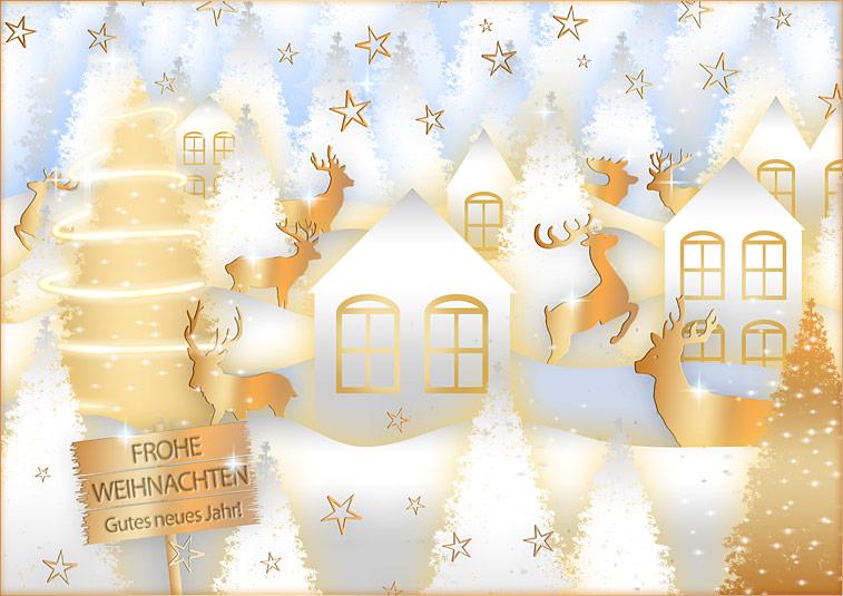 Frohe Weihnachten Winterlandschaft Schnee Häuser Hirsche Neues Jahr
