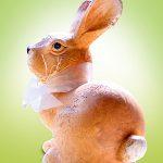 Osterhase mit Schleife Freistellung gruen-weisser Hintergrund
