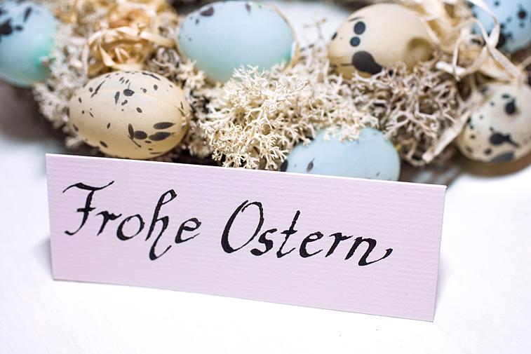 Frohe Ostern Handschrift Ostereier Kranz Grusskarte