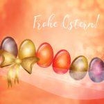 Frohe Ostern Ostereier Reihe goldene Schleife Swirls