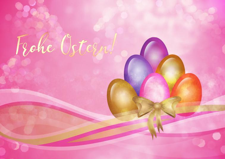 Frohe Ostern Ostereier rosa Schrift gold