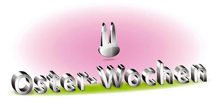 Metallic Schrift Osternwochen mit Osterhasen-Logo