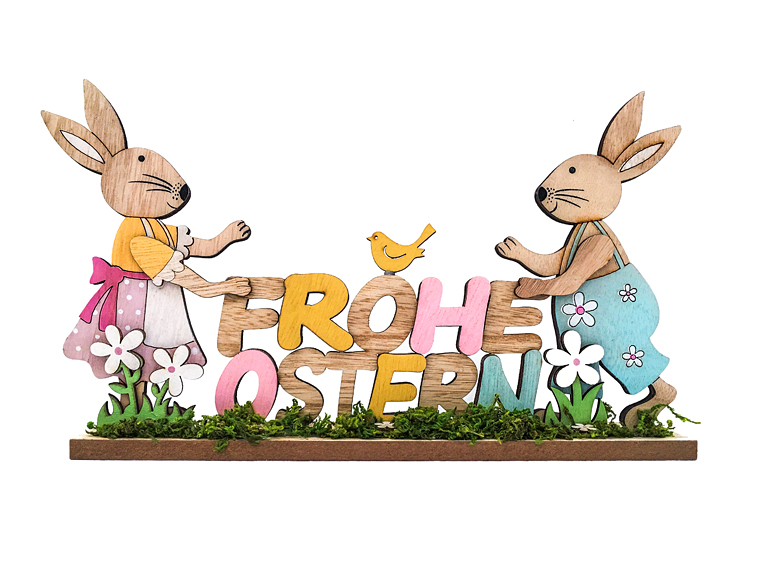Osterhasen Frohe Ostern Holzschild Grußkarte Osterkarte