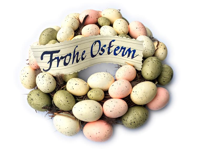 Osterkranz Ostereier Frohe Ostern Kalligraphie Handschrift