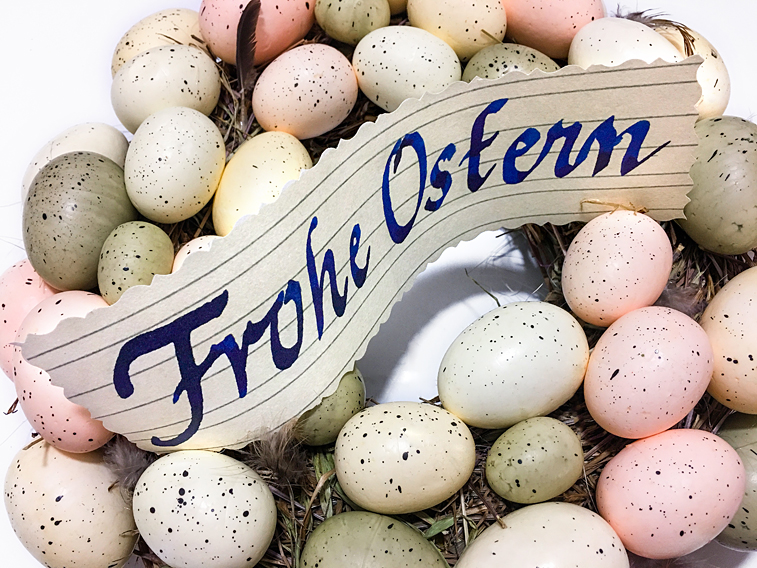 Osterkranz Ostereier Frohe Ostern Zettel