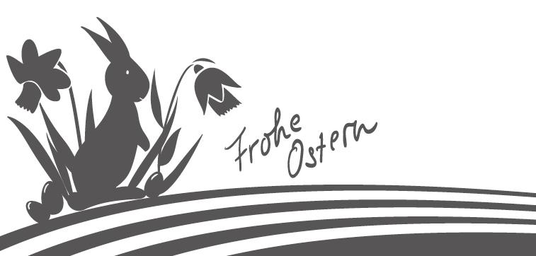 Frohe Ostern Osterhase Ostereier Osterglocken grau Streifen Banner