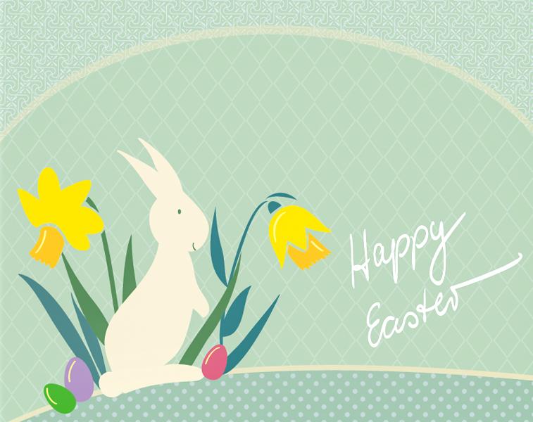 Ostern Osterhase Ostereier Osterglocken Grußkarte