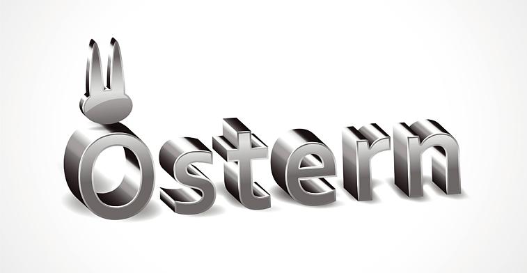 Ostern Osterhasen-Ohren 3D Schrift silbermetallic Banner