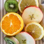Obst-Scheiben aufgeschnittene Früchte Orange Zitrone Apfel Kiwi