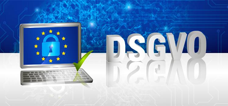 Laptop Datenschutz Grundverordnung DSGVO Europa OK Haken