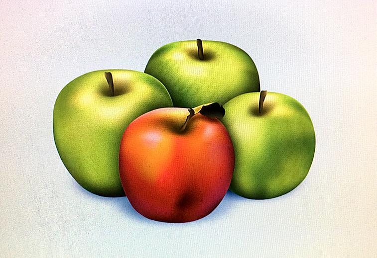 Rote und grüne Äpfel gemalt