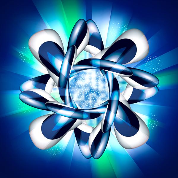Atom blau Explosion futuristisch Strahlen Licht Ray Wissenschaft
