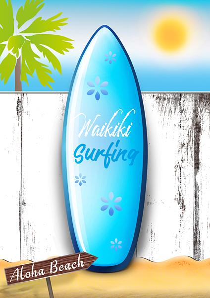 Surfboard Holzwand Meer Sommerurlaub Sandstrand Surfing Hawaii