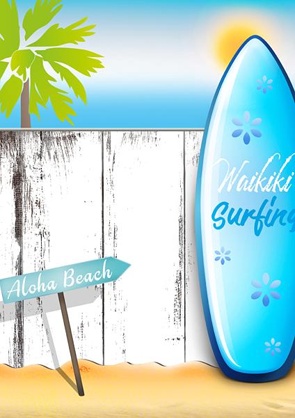 Surfboard Meer Sommer Urlaubsbild Strand Holzwand Palmen