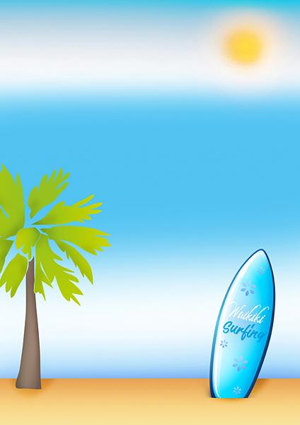 Surfboard Sand-Strand Meer Insel Palme Urlaub