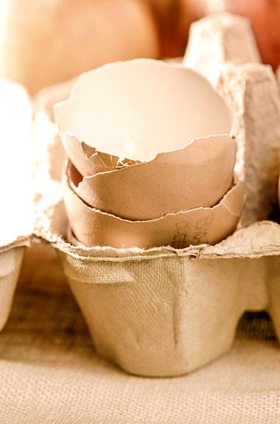 Eierschalen im Eierkarton Bio Eier Stapel