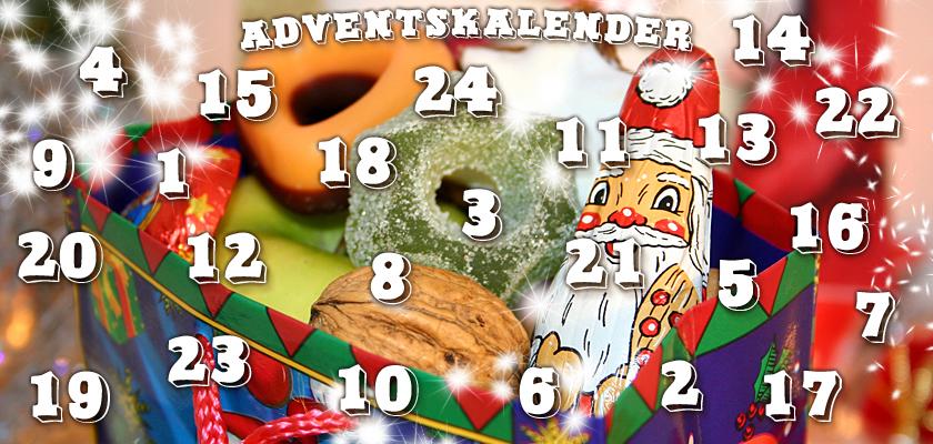 Adventskalender-Bild Nikolaus Süßigkeiten Zuckerkringel Zahlen Ziffern Sterne