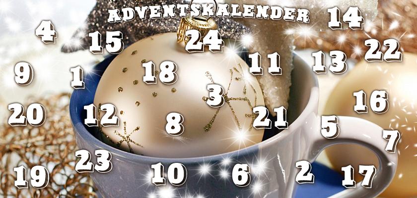Adventskalender-Bild weisse Weihnachtskugeln Sterne Kaffee-Tasse Zahlen Ziffern