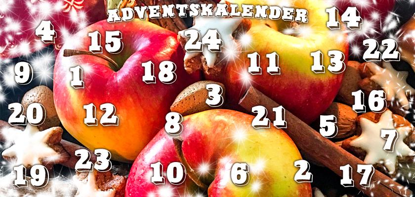 Adventskalender-Bild Äpfel Nüsse Zimtsterne Weihnachtsteller Zahlen Ziffern