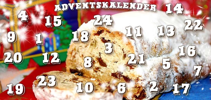 Adventskalender-Bild Weihnachtsbild Christstollen Weihnachtsgebäck Zahlen Ziffern