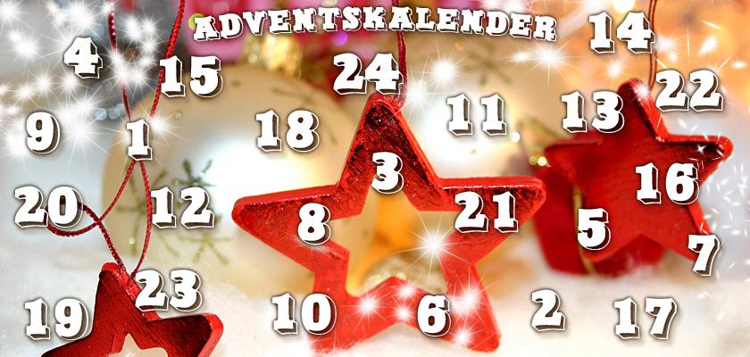 Adventskalender-Bild Weihnachtsbild Weihnachts-Sterne Weihnachtskugeln Zahlen Ziffern