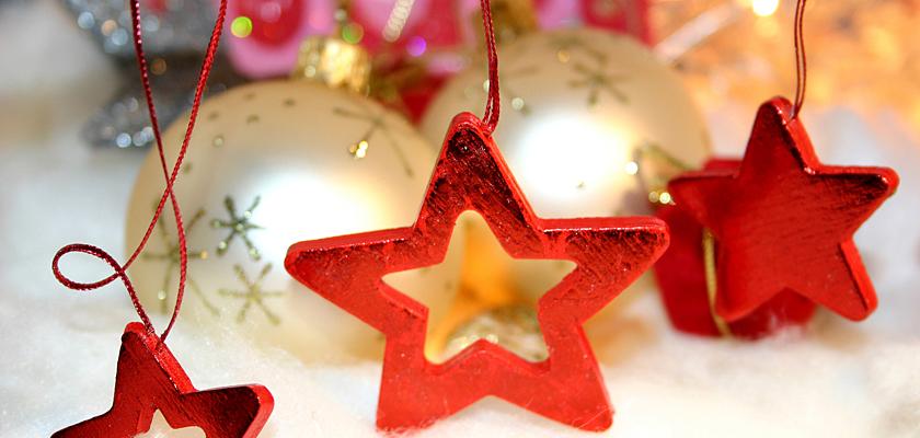 Adventskalender-Bild Weihnachtsbild Weihnachts-Sterne Weihnachtskugeln