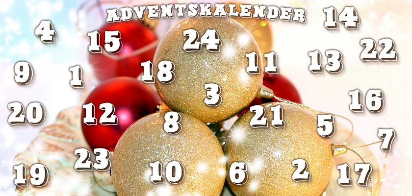 Adventskalender-Bild Weihnachtsbild rote goldene Weihnachtskugeln Christbaumkugeln Zahlen Ziffern