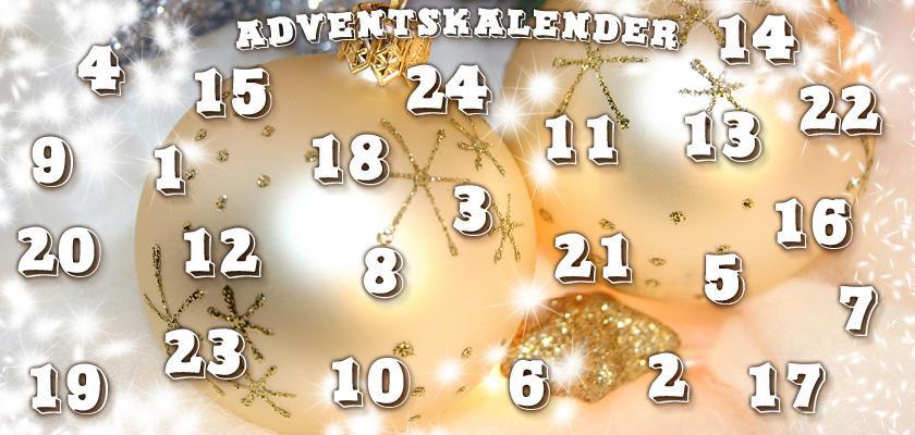 Adventskalender-Bild weisse Weihnachtskugeln Christbaumkugeln Zahlen Ziffern
