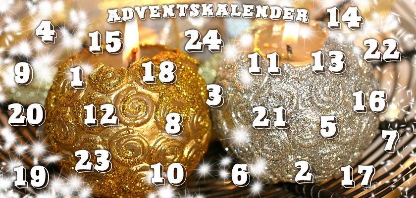 Adventskalender-Bild Weihnachtskugel brennende Weihnachts-Kerzen