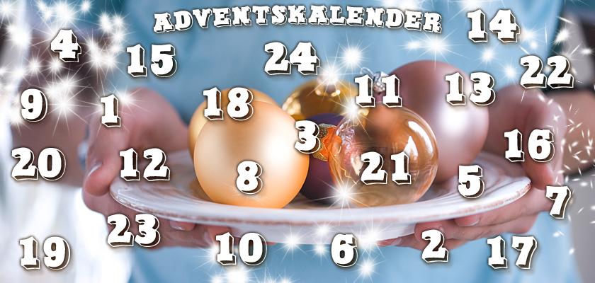 Adventskalender-Bild Weihnachtskugeln Zahlen Ziffern
