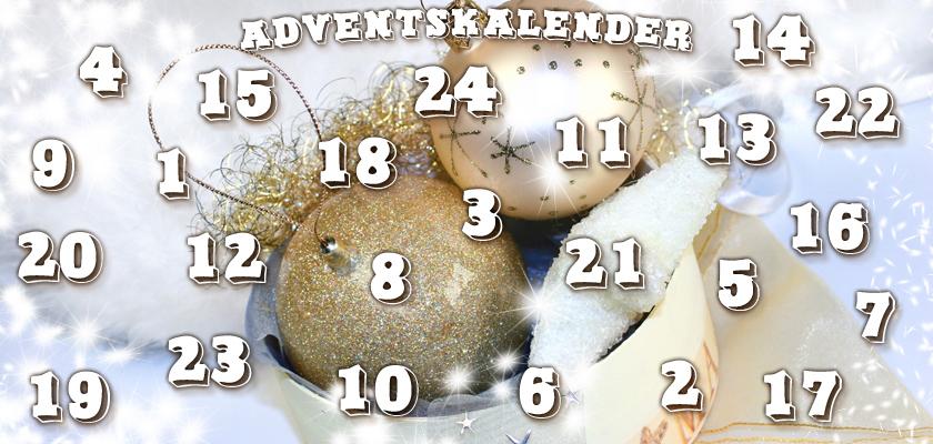 Adventskalender-Bild glitzernde weisse goldene Weihnachtskugeln Christbaumkugeln Zahlen Ziffern