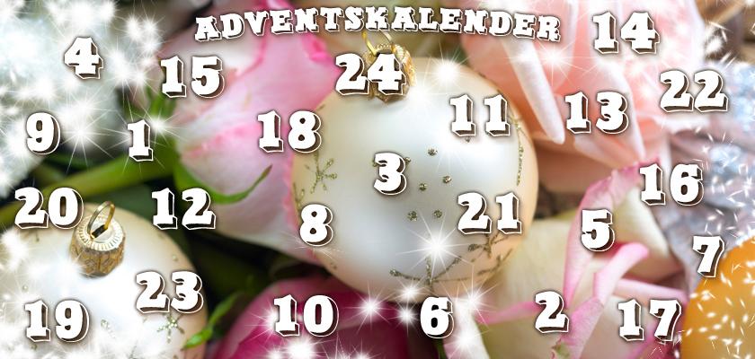 Adventskalender-Bild weisse Weihnachtskugeln Rosen-Blüten Glitzer-Sterne Zahlen Ziffern