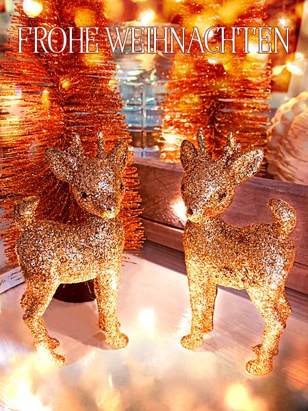 Frohe Weihnachten Tannenbaum Hirsch-Figuren goldene Glitzer-Rehe