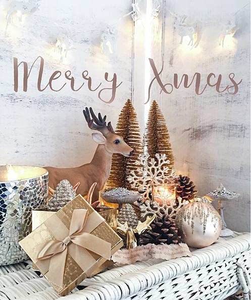 Frohe weisse Weihnachten Weihnachtsgruss Hirsch gold Merry Xmas