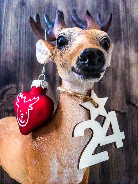 Hirsch Weihnachtskugel Weihnachten Herz 24 Ziffer Stern