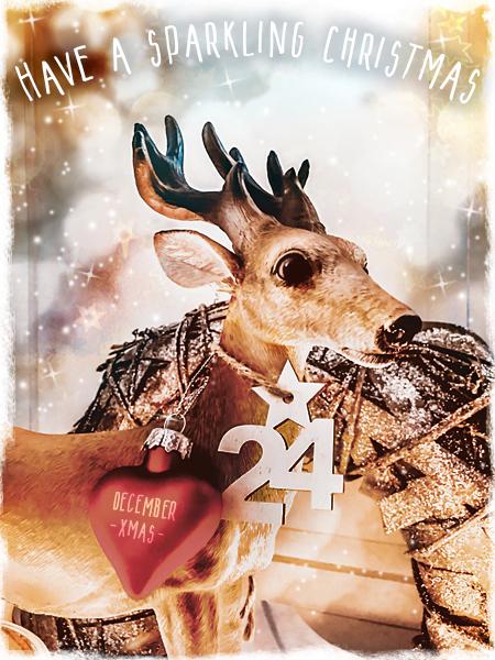 Weihnachten Hirsch Weihnachtskugel Herz 24 Dezember Weihnachts-Gruß