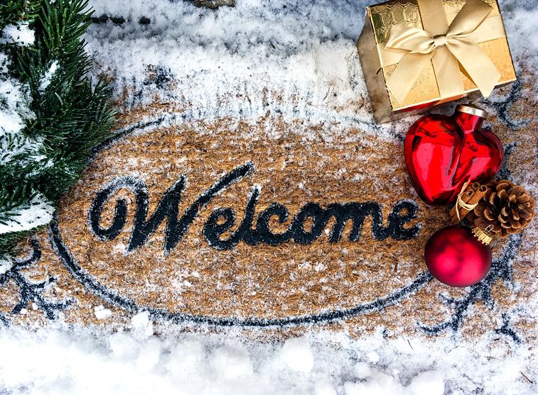 Weihnachten Winter Schnee Weihnachtskugeln Haustür Fussmatte Weihnachtsgeschenke Willkommen