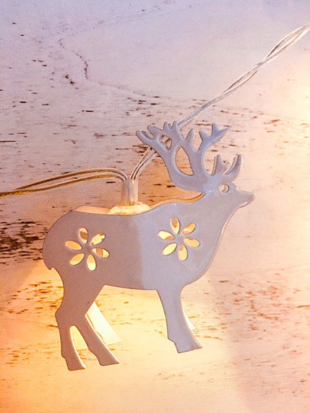 Weihnachten weisse Skandi Hirsch Metall Lichterkette