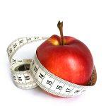 Apfel mit Massband Abnehmen gesunde Ernährung Obst essen
