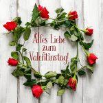 Valentinstag Grusskarte Rote Rosen-Kranz Valentinsgruss Shabby Holz