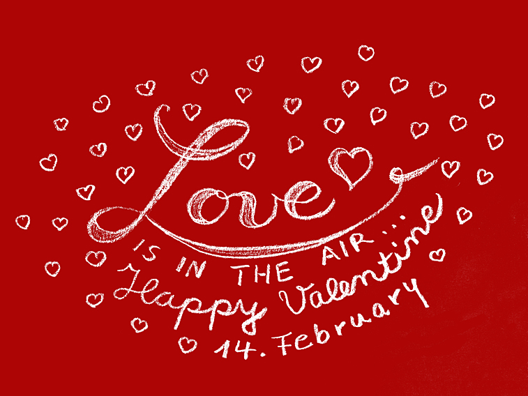 Valentinstag Handlettering Valentine 14 february love is in the air