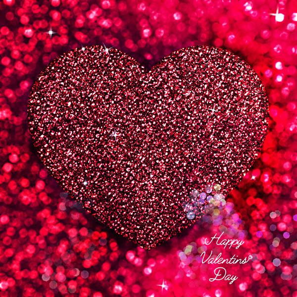 Valentinstag rotes Glitzer-Herz Schrift Grusskarte