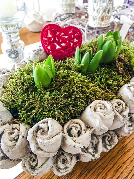 Valentinstag Hyazinthen Herz Shabby Landhaus Rosen Pflanzschale