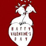 Valentinstagsgrüße Liebe Herzen Hirsch Reh Liebespaar